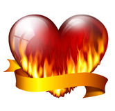 Red heart on fire. Big red heart on fire, with sash, isolated on white background Royalty Free Stock Photos