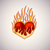 Red heart on fire tattoo. Red heart on fire. Tattoo Illustration.  Editable vector illustration Stock Photos