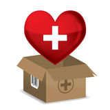 Red heart and first aid box,vector. Red heart and first aid box on a isolated Royalty Free Stock Photography