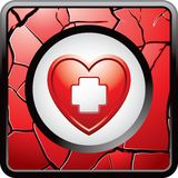 Red heart with first aid icon in cracked web icon Stock Photo