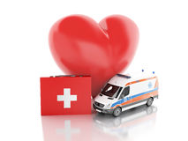 Red heart, first aid kit and ambulance. 3d illustration Stock Photo
