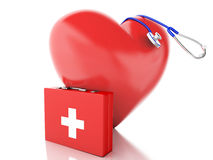 Red heart, first aid kit and stethoscope. 3d illustration Stock Photos