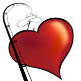 Red heart on a fishing hook. Royalty Free Stock Photos