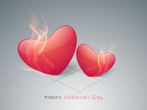 Red heart in flame for Valentines Day. Stock Photography