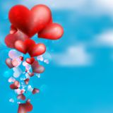 Red heart floating in the sky. + EPS10 Royalty Free Stock Photos