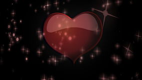 Red heart floating among stars animation for Valentine's day stock video