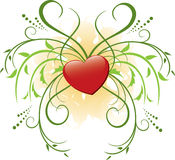 Red heart and flora - vector. Vector red heart and flora stock illustration