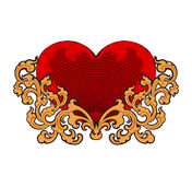 Red heart with floral art pattern Royalty Free Stock Image