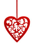 Red heart with floral ornament Stock Photos