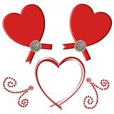 Red Heart Flourish. Isolated embellishments of red hearts Royalty Free Stock Images
