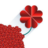 Red heart flower with long shadow Royalty Free Stock Images