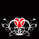 Red heart (flower ornament) Royalty Free Stock Image