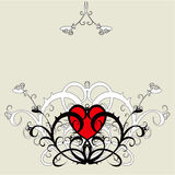 Red heart (flower ornament). Red heart among a flower ornament Royalty Free Stock Photography