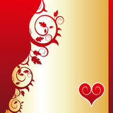 Red heart (flower ornament). Floral background with heart in a corner Stock Image