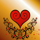 Red heart (flower ornament). Floral background with red heart Stock Photos