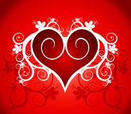 Red heart on a flower ornament. Valentine's card (red heart on a flower ornament Royalty Free Stock Image