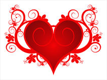 Red heart on a flower ornament Royalty Free Stock Photo