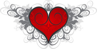 Red heart on a flower ornament. Valentine's card (red heart on a flower ornament stock illustration