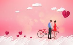 Red heart flower on pink background with sweet couple on honeym. Oon vacation summer holidays romance. Love concept. Happy Valentine`s Day wallpaper, poster stock illustration