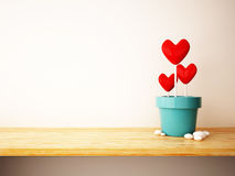 Red heart in flower pot concept Stock Photography