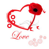 Red heart with a flower Stock Photos