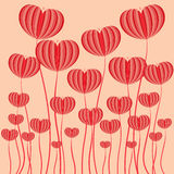 Red heart flower vector illustrator background Royalty Free Stock Images