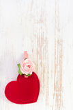 Red heart with flower Stock Photography