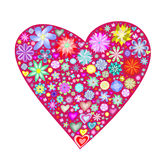 Red heart with flowers Royalty Free Stock Photography