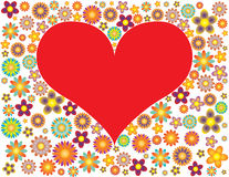 Red heart and flowers. Heart shaped frame surrounded by flowers Stock Photo