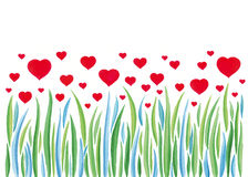 Red Heart Flowers Background. Nature Love. Red hearts over green and blue leafs. Watercolor art royalty free illustration