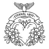 Heart with flowers, ribbon and white dove. Eternal Love. Old school tattoo. Black and white illustration. Red heart with flowers, ribbon and white dove. Eternal Royalty Free Stock Photo
