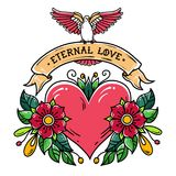 Red heart with flowers, ribbon and white dove. Eternal Love. Old school tattoo. Holiday illustration.Valentines Day Stock Photo
