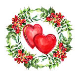 Red  heart, flowers wreath , watercolor Royalty Free Stock Image
