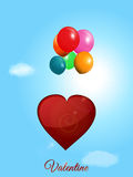 Red heart flying with balloons over blue sky Royalty Free Stock Image