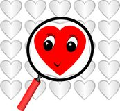Red heart in focus label Royalty Free Stock Photography