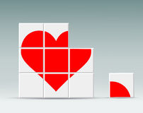 Red heart folded cubes Royalty Free Stock Images