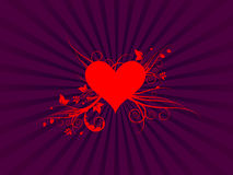 Red Heart with Foliage Vector. Layered  illustration of a red heart with floral growth on a purple background Stock Photos