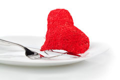 Red heart with fork. Stock Image