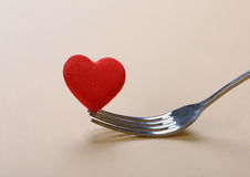 Red heart with fork Stock Photography