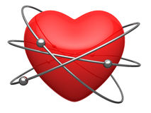 Red heart in form of the atom. With revolving around electrons Royalty Free Stock Photography