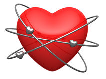 Red heart in form of the atom. With revolving around electrons Stock Images