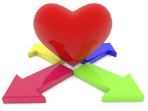 Red heart among the four arrows Royalty Free Stock Image