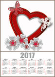 Red heart frame with butterfly and flowers 2017 calendar Royalty Free Stock Photography