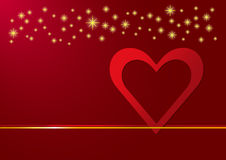 Red heart frame and golden stars above Royalty Free Stock Image