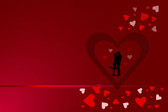 Red heart frame with silhouette of couple Royalty Free Stock Photos