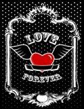 Red heart in frame. Vector stock illustration