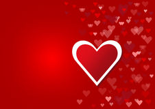 Red heart with the frame of the white heart Stock Photos