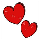 Red heart free drawing-cartoon vector royalty free stock photo