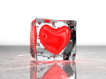 Red heart frozen in ice Stock Photos