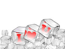 Red  heart frozen in ice cube isolated on white . Royalty Free Stock Photography
